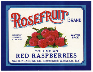 Rosefruit Brand Vintage New York Raspberry Can Label
