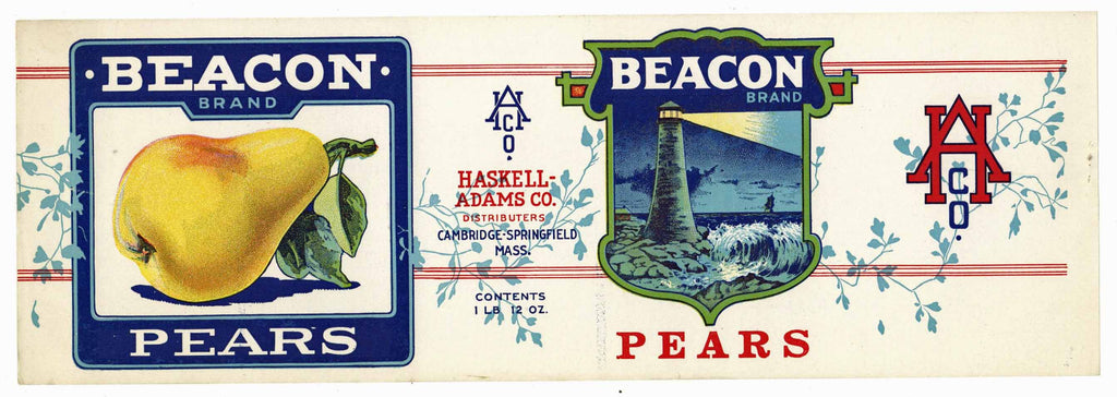 Beacon Brand Vintage Cambridge Massachusetts Pear Can Label