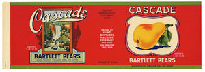 Cascade Brand Vintage Bartlett Pear Can Label