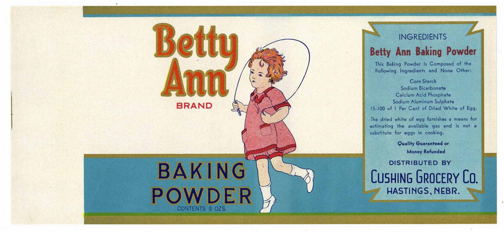Betty Ann Brand Vintage Hastings Nebraska Baking Powder Can Label
