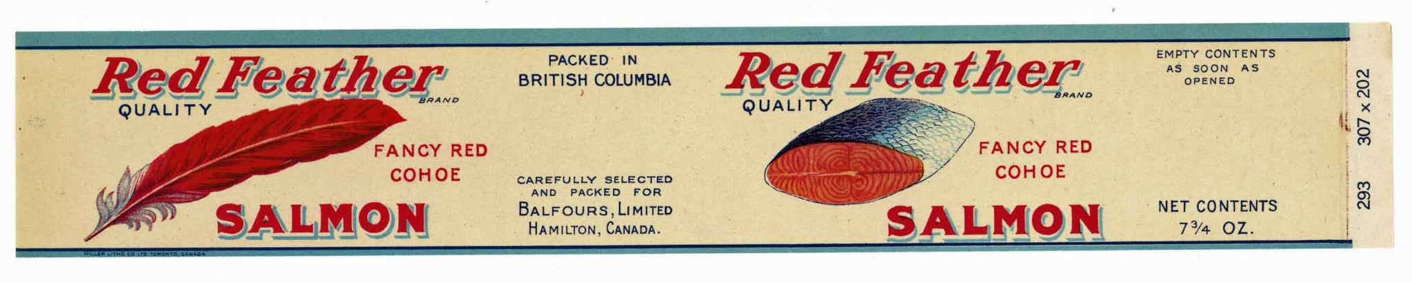 Red Feather Brand Vintage Hamilton Canada Salmon Can Label