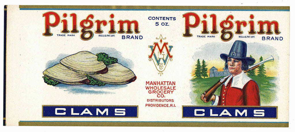 Pilgrim Brand Vintage Rhode Island Clam Can Label