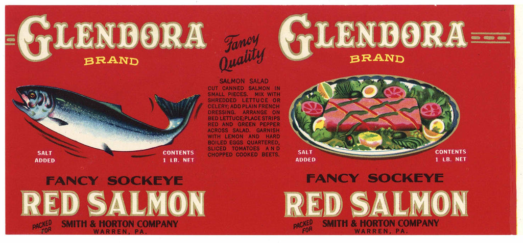 Glendora Brand Vintage Salmon Can Label