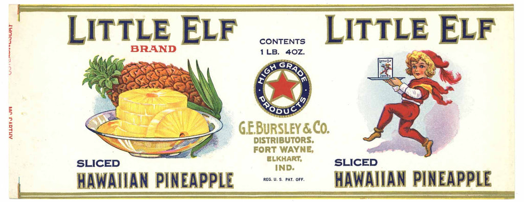 Little Elf Brand Vintage Fort Wayne Indiana Pineapple Can Label