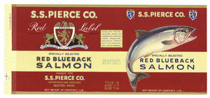 S. S. Pierce Brand Vintage Boston Salmon Can Label