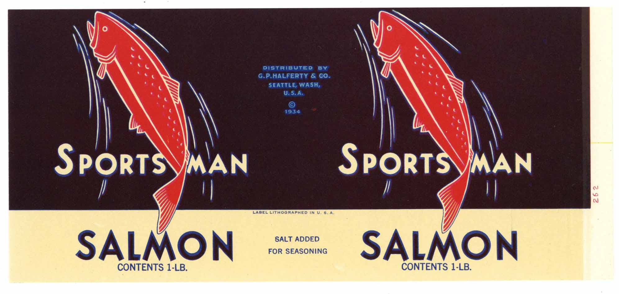 Sportsman Brand Vintage Seattle Washington Salmon Can Label