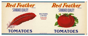 Red Feather Brand Vintage Hamilton Canada Tomato Can Label