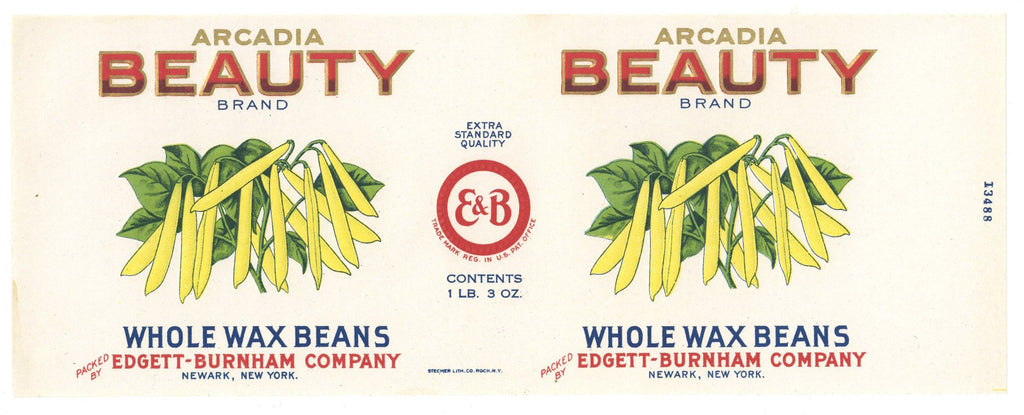 Arcadia Beauty Brand Vintage Wax Beans Can Label