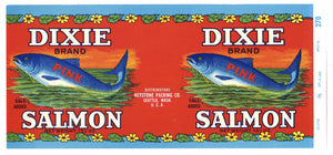 Dixie Brand Vintage Washington Salmon Can Label