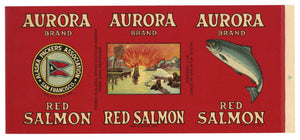 AURORA Brand Vintage Salmon Can Label (CAN1687)