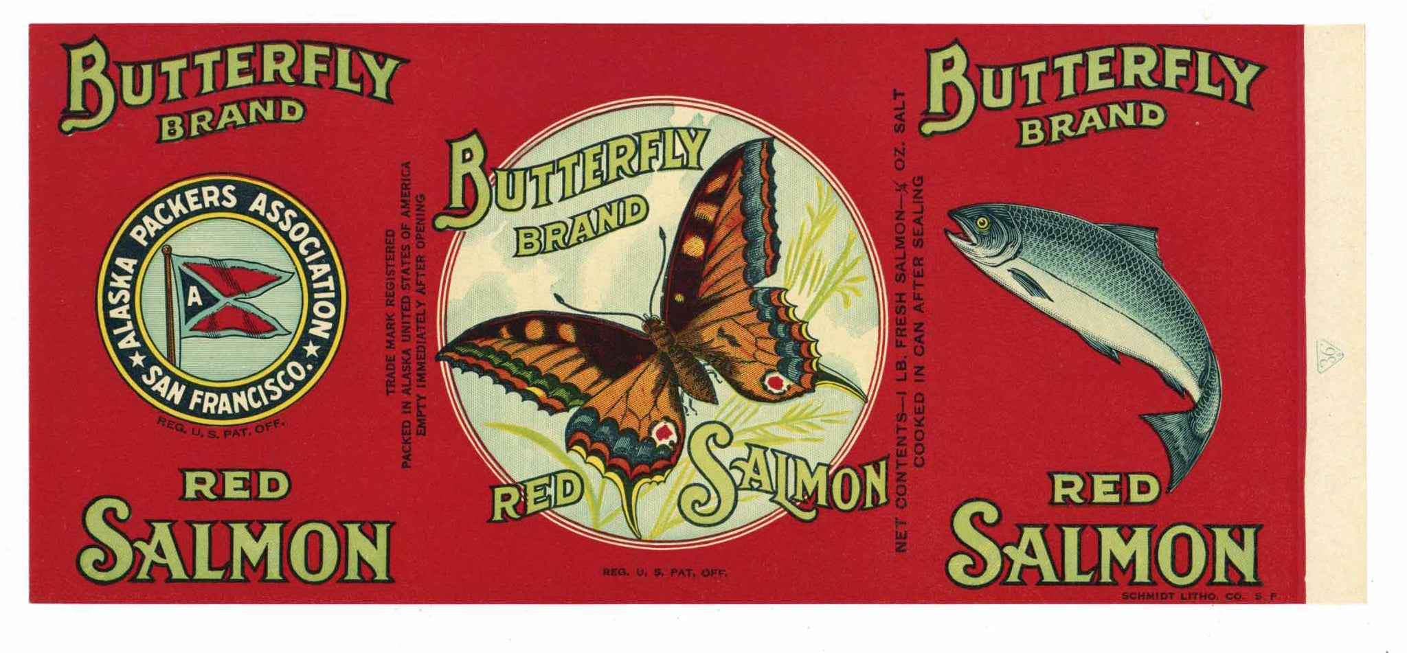 BUTTERFLY Brand Vintage Salmon Can Label (CAN1688)