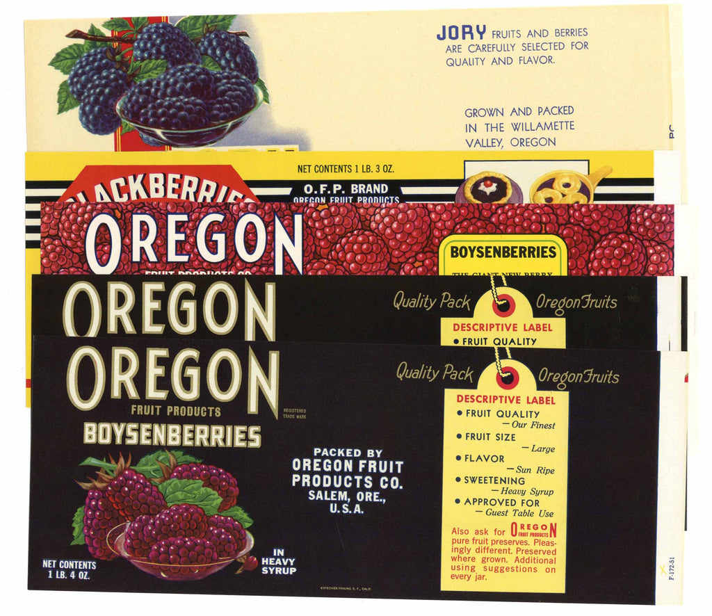 Oregon Berries Set of 5 Berry Can Labels