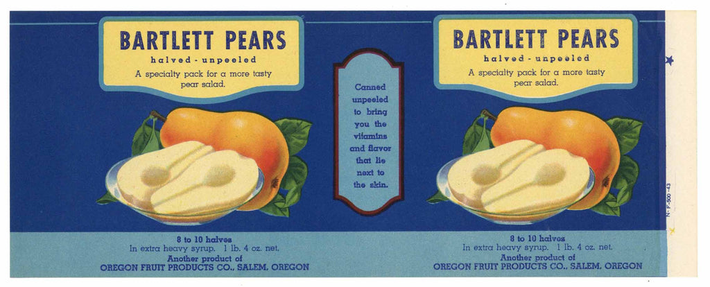 Bartlett Pears Brand Vintage Salem Oregon Can Label