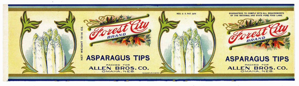 Forest City Brand Vintage Omaha Nebraska Asparagus Can Label