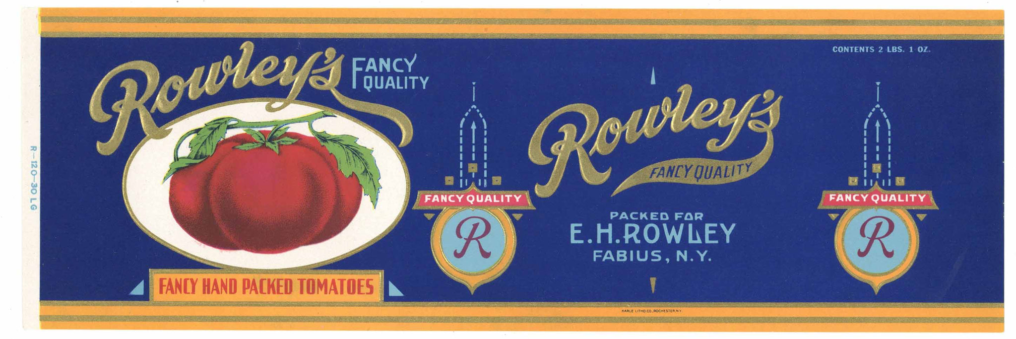 Rowley's Brand Vintage New York Tomato Can Label, L