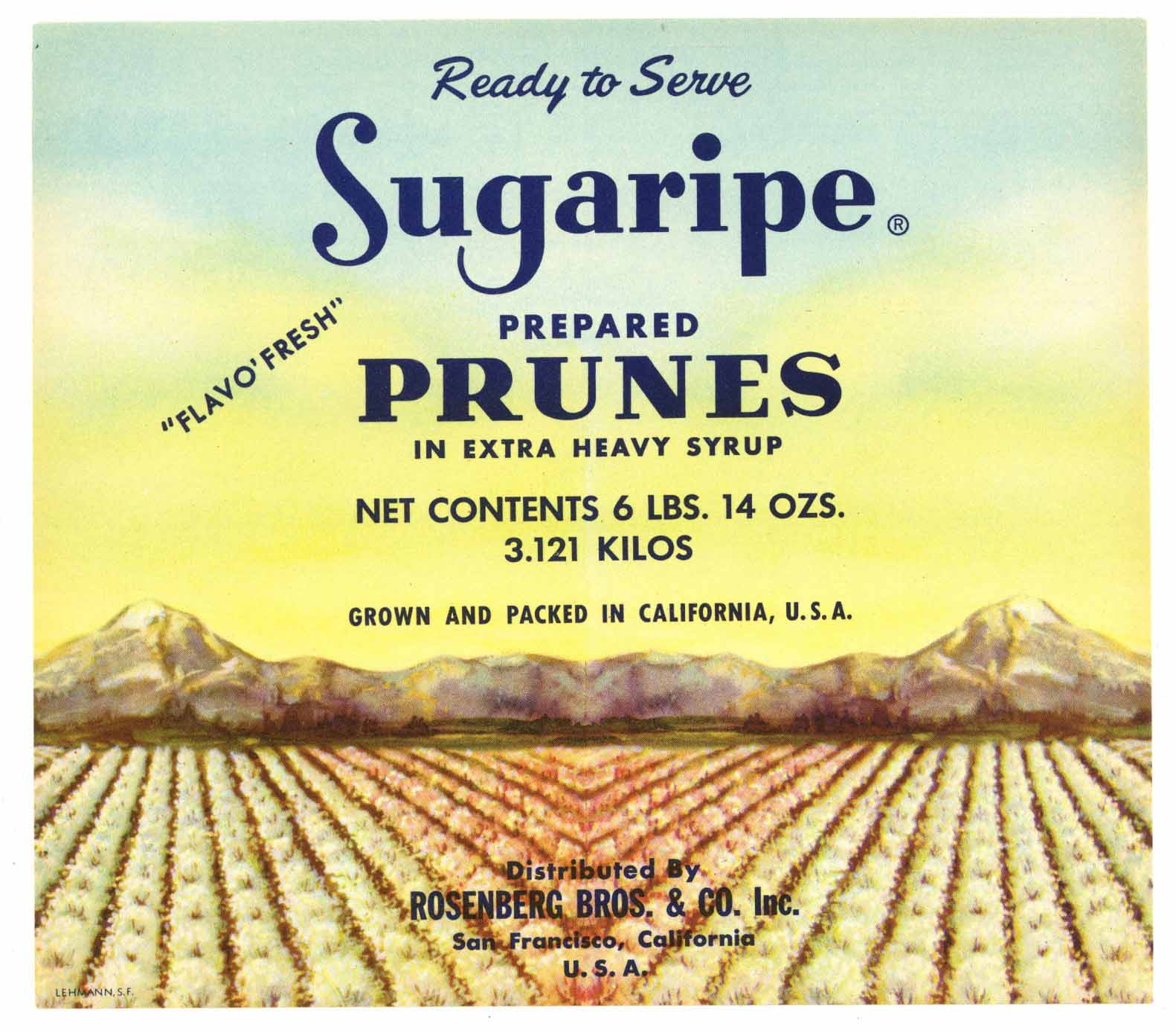 Sugaripe Brand Vintage Prune Can Label, n