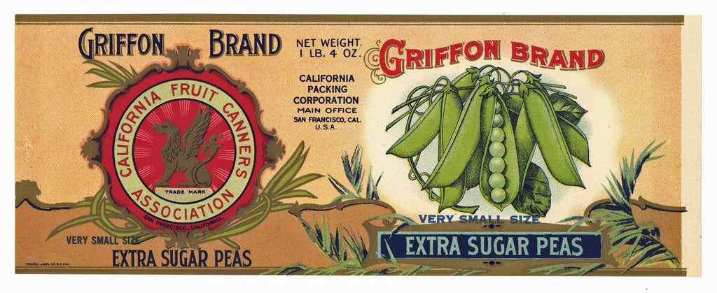 Griffon Brand Vintage Sugar Peas Can Label