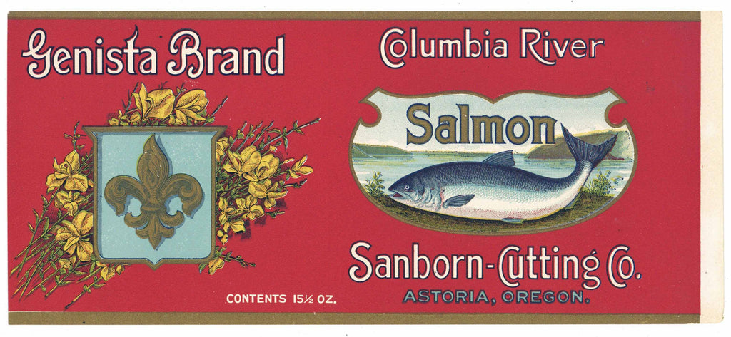 Genista Brand Vintage Astoria Oregon Salmon Can Label