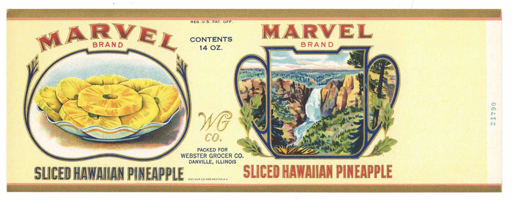 Marvel Brand Vintage Hawaiian Pineapple Can Label