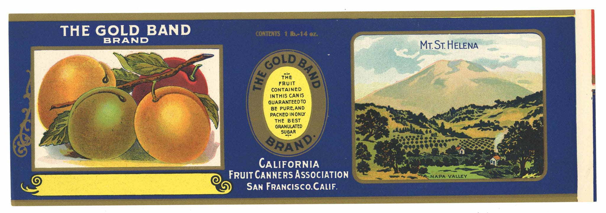 The Gold Band Brand Vintage Napa Valley Plum Can Label