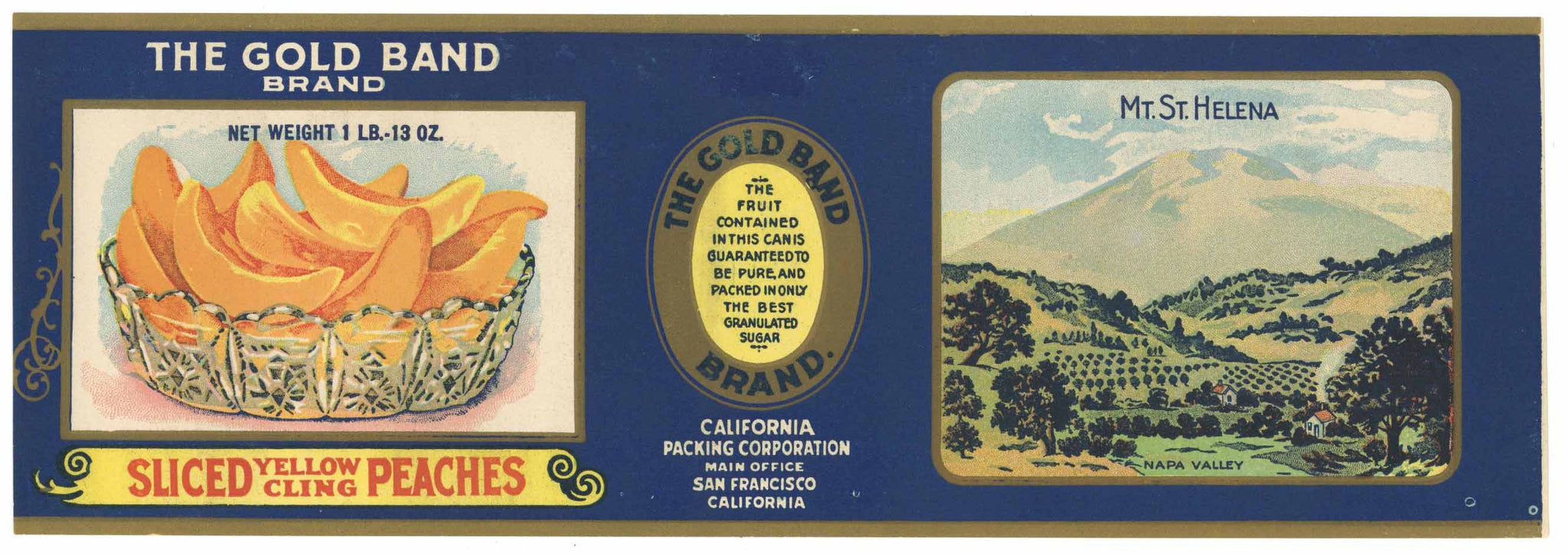The Gold Band Brand Vintage Napa Valley Peach Can Label