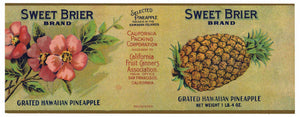 Sweet Brier Brand Vintage Pineapple Can Label
