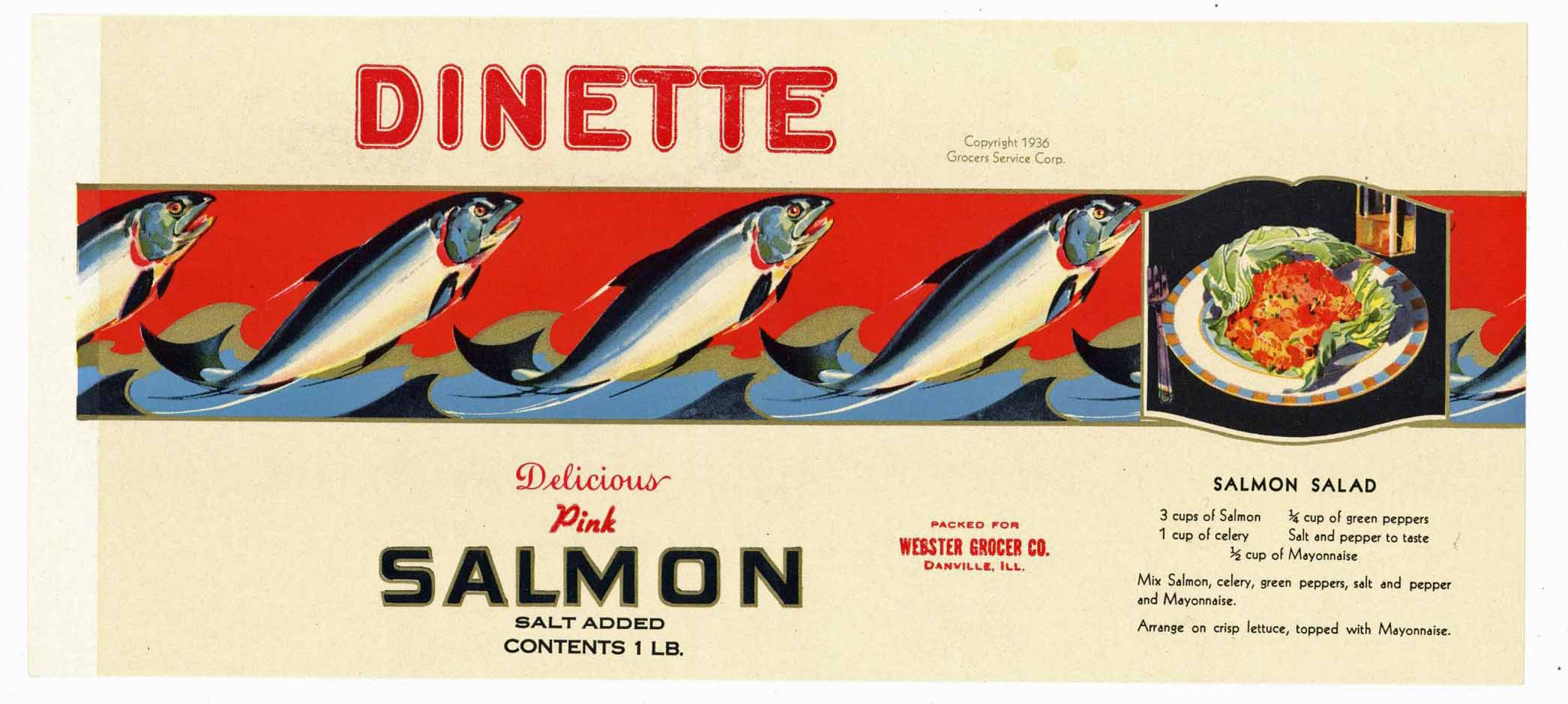 DINETTE Brand Vintage Danville Illinois Salmon Can Label