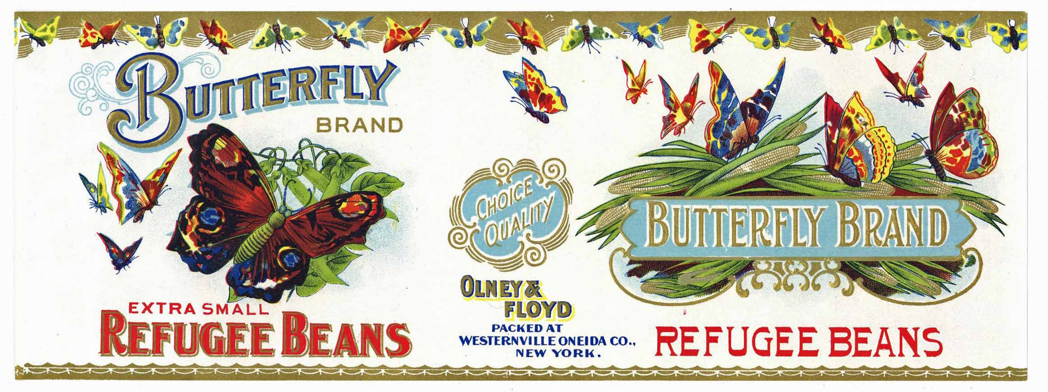 Butterfly Brand Vintage New York Refugee Bean Can Label