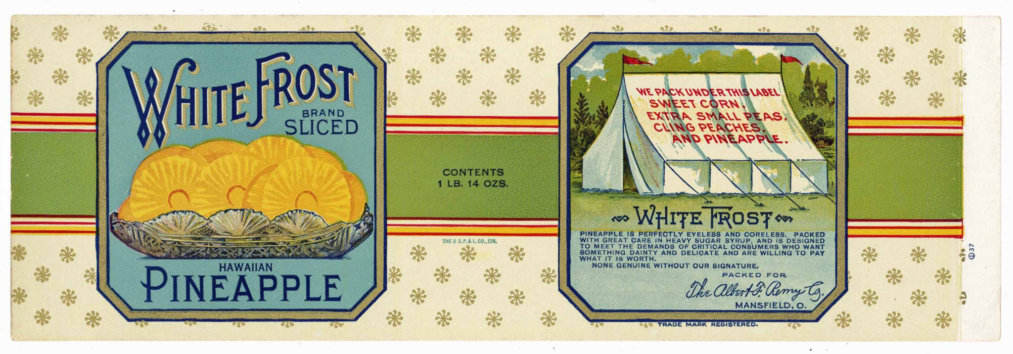 White Frost Brand Vintage Hawaiian Pineapple Can Label