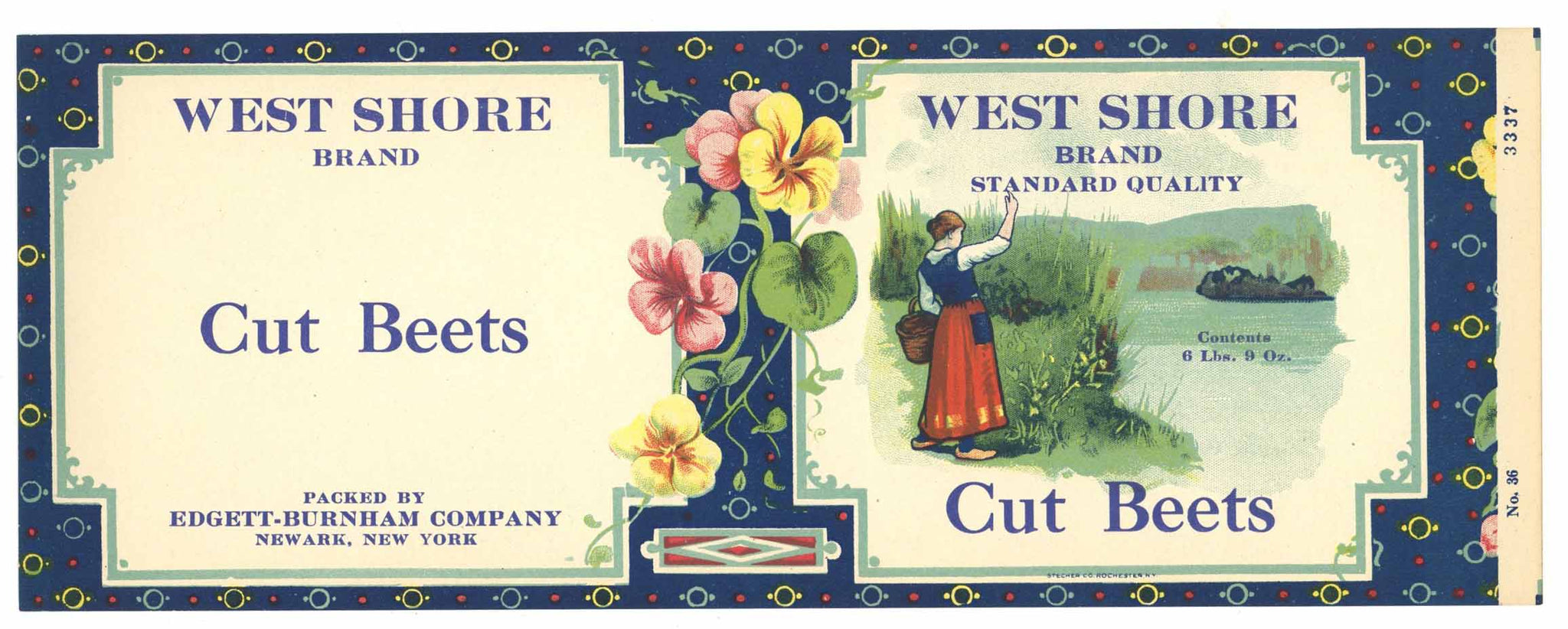 West Shore Brand Vintage Cut Beets Can Label