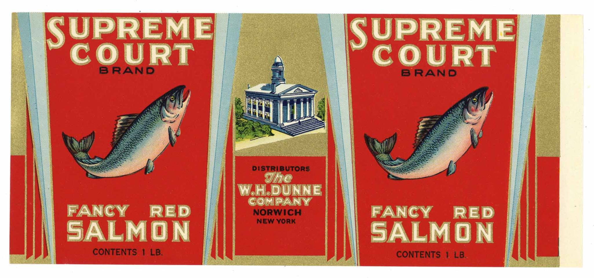 Supreme Court Brand Vintage Norwich New York Salmon Can Label