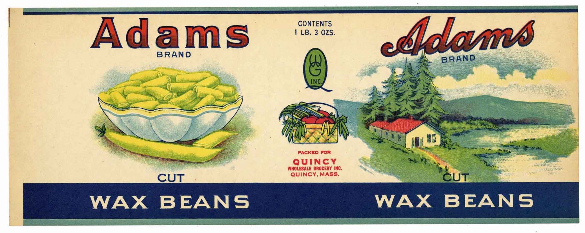 Adams Brand Vintage Massachusetts Wax Bean Can Label
