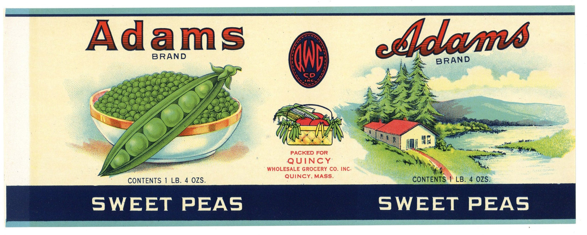 Adams Brand Vintage Sweet Peas Can Label