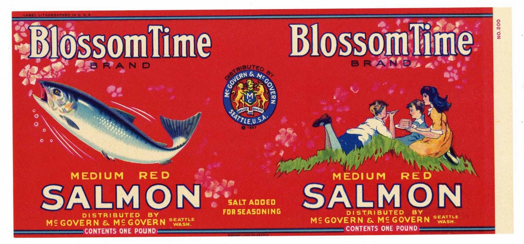 Blossom Time Brand Vintage Seattle Salmon Can Label