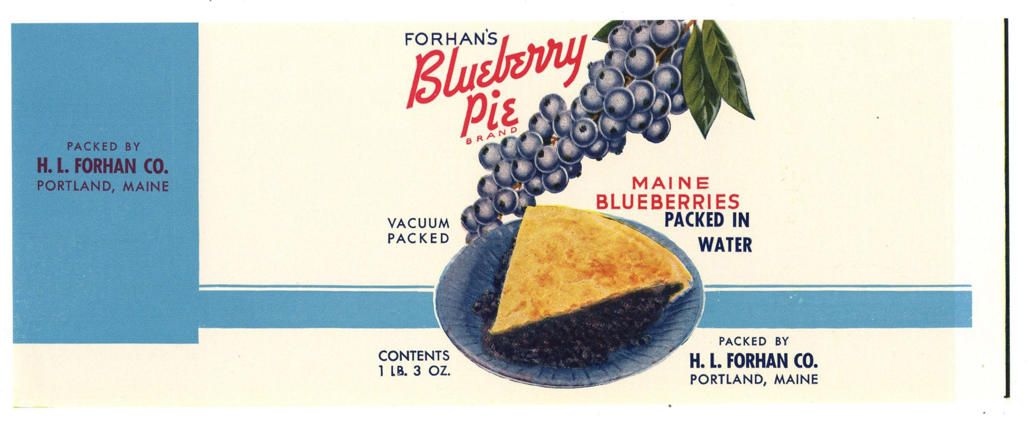 Blueberry Pie Brand Vintage Portland Maine Can Label