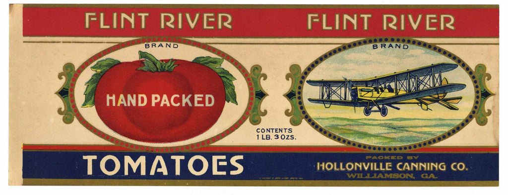 Flint River Brand Vintage Williamson Georgia Can Label