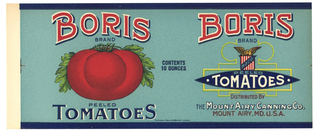 Boris Brand Vintage Maryland Tomato Can Label