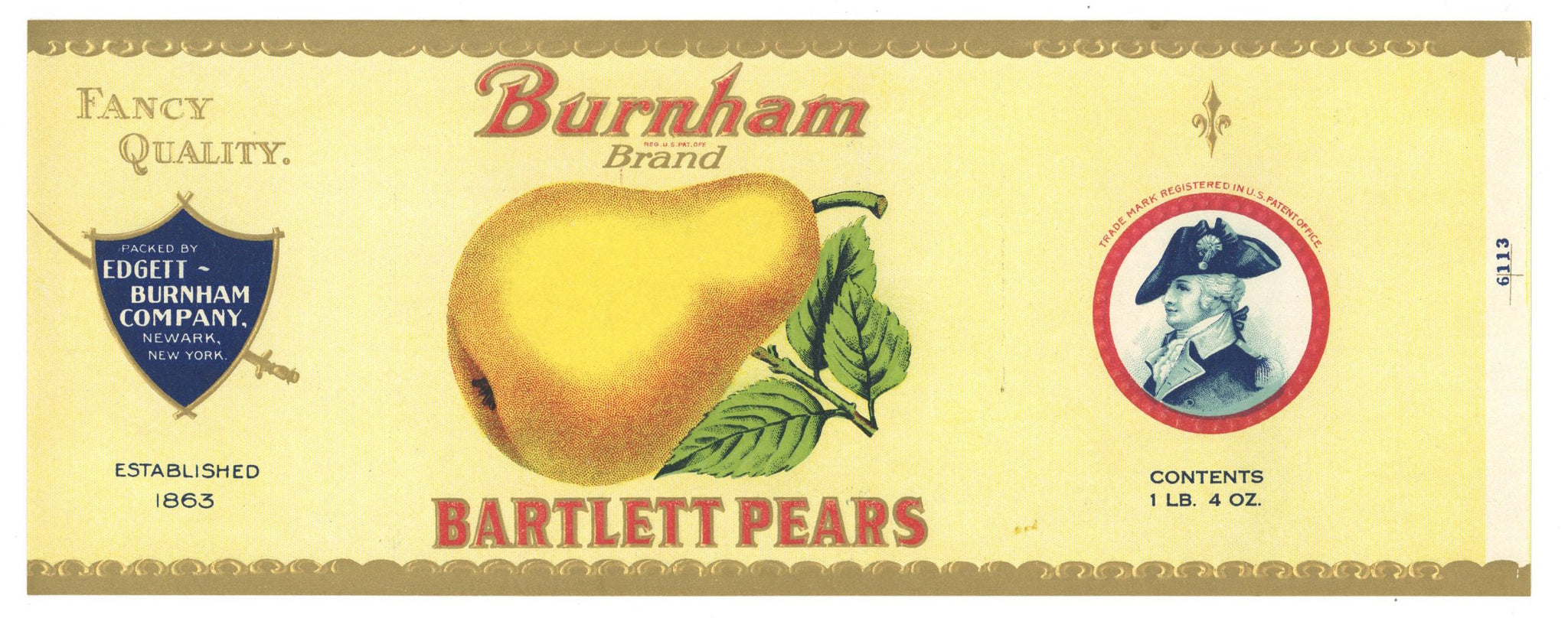 Burnham Brand Vintage Pear Can Label