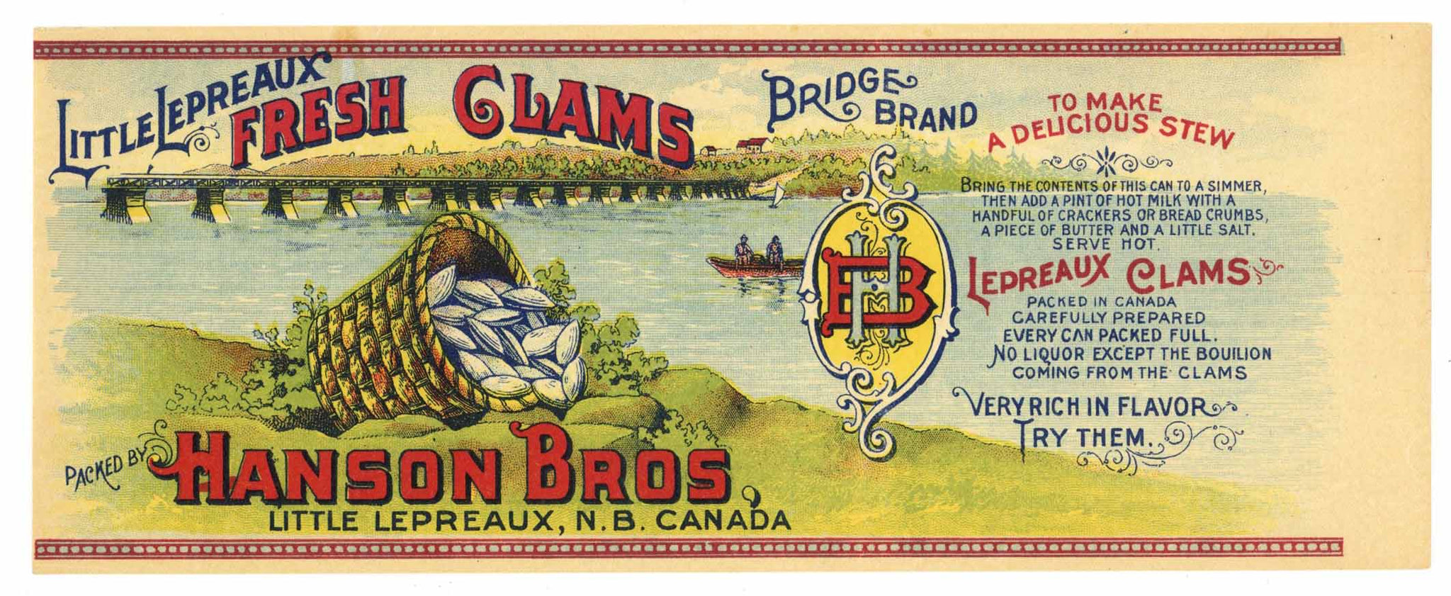 Bridge Brand Vintage Canadian Clams Can Label
