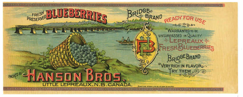 Bridge Brand Vintage Canadian Blueberry Can Label