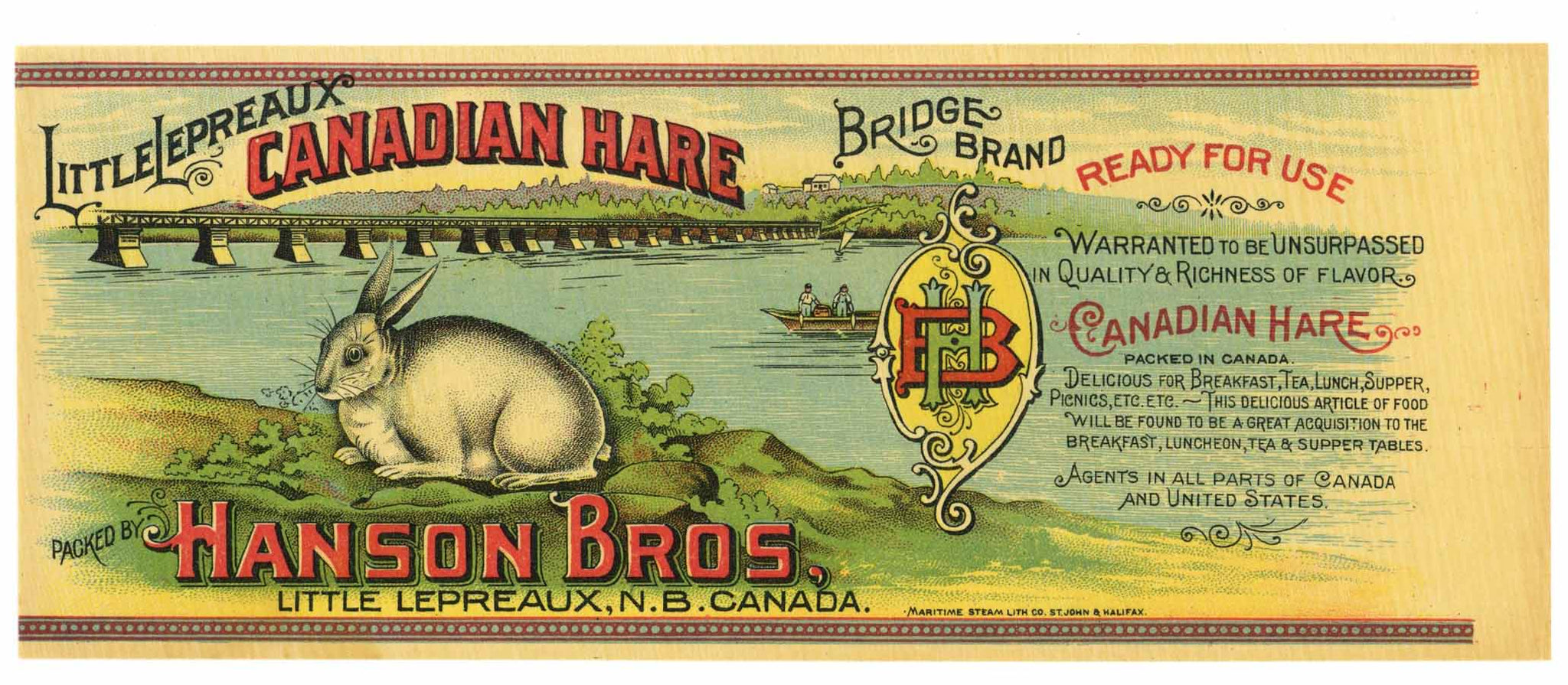 Bridge Brand Vintage Canadian Hare Can Label