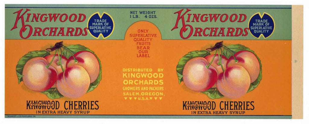 Kingwood Orchards Brand Vintage Cherry Can Label
