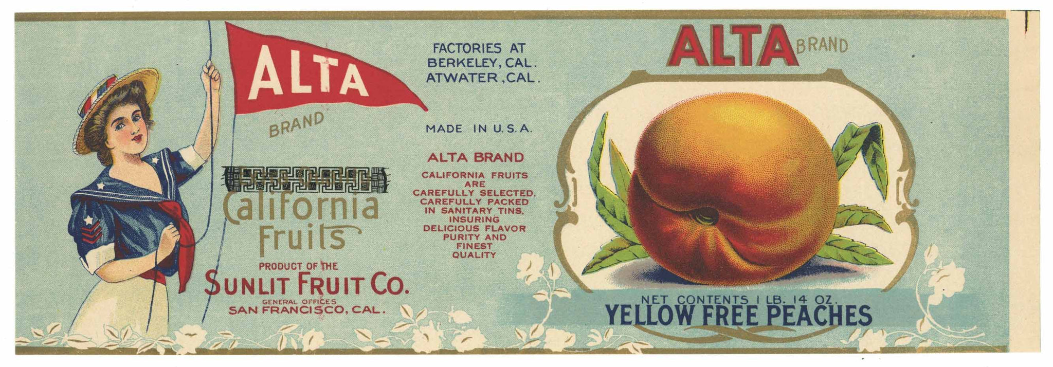 Alta Brand Vintage Peach Can Label