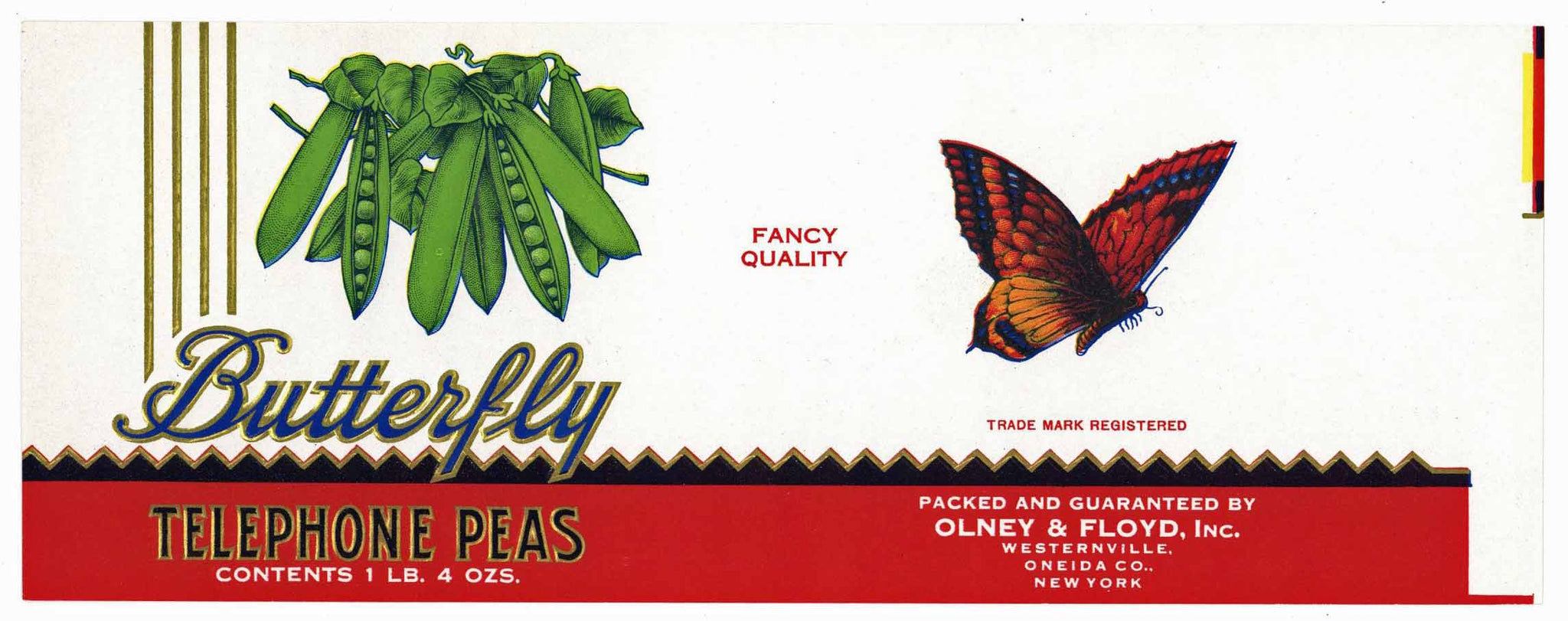 Butterfly Brand Vintage Olney & FLoyd Telephone Peas Can Label