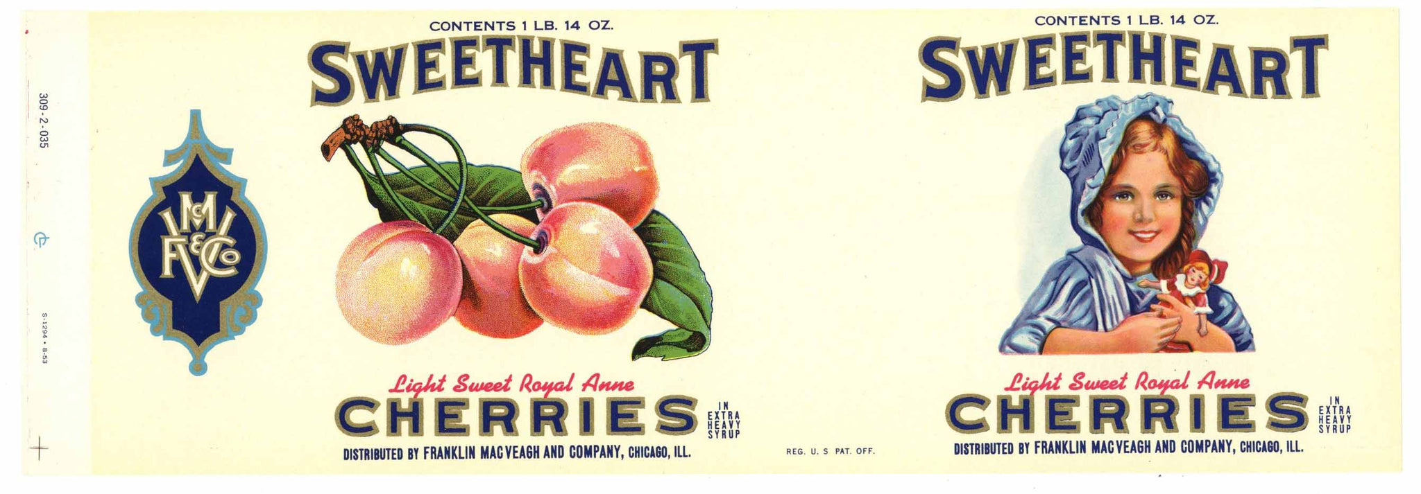 Sweetheart Brand Vintage Cherry Can Label
