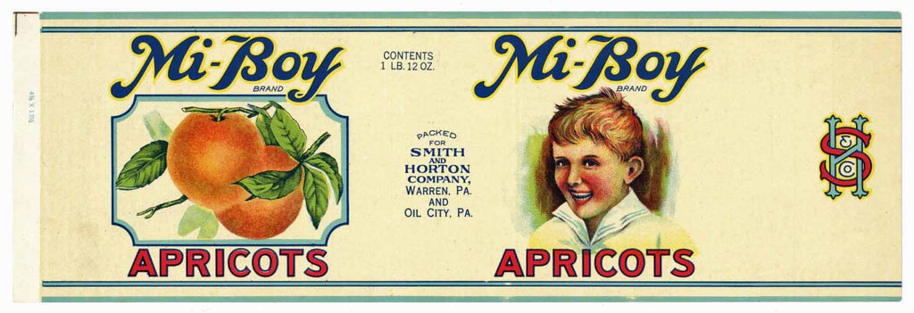 Mi-Boy Brand Vintage Apricot Can Label