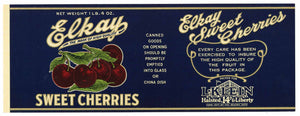 Elkay Brand Vintage Sweet Cherry Can Label