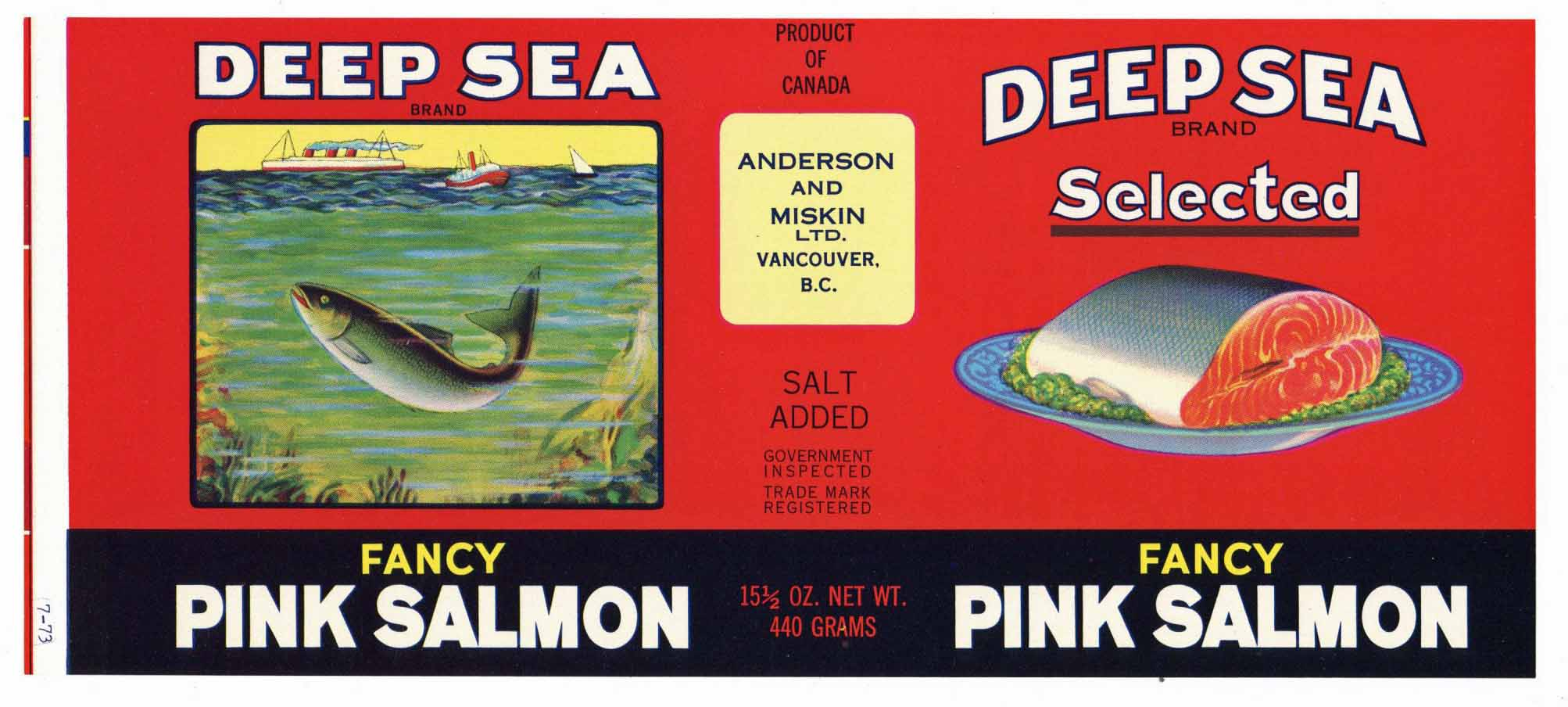 Deep Sea Brand Vintage Canadian Salmon Can Label