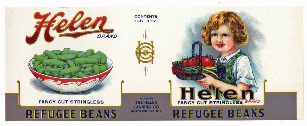 Helen Brand Vintage New York Beans Can Label