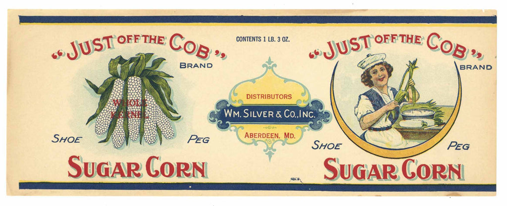 Just Off The Cobb Brand Vintage Aberdeen, Maryland Can Label